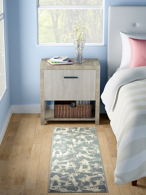 WELHOME Grey & Cream Printed Rectangle Carpet