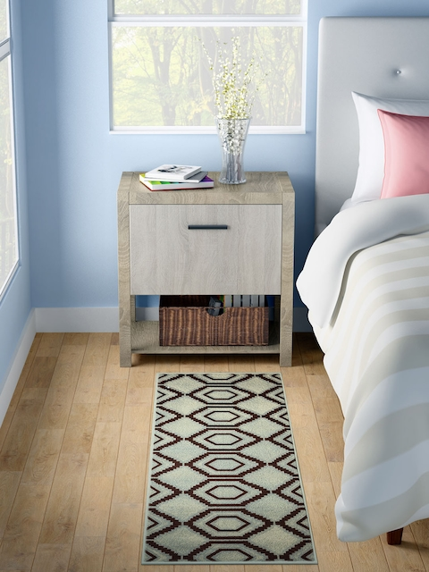 WELHOME Blue Printed Rectangle Carpet