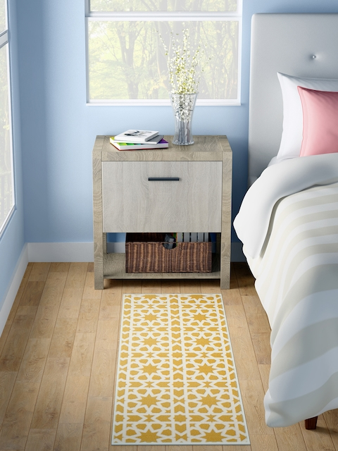 WELHOME White & Yellow Printed Rectangle Carpet