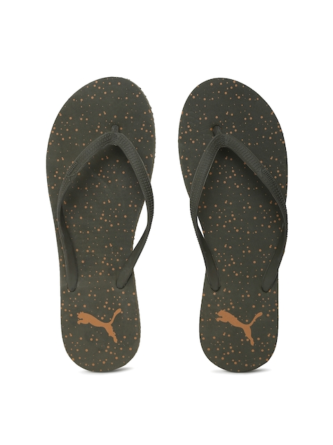 Puma Women Olive Green Printed First Dots IDP Flip-Flops  available at myntra for Rs.419
