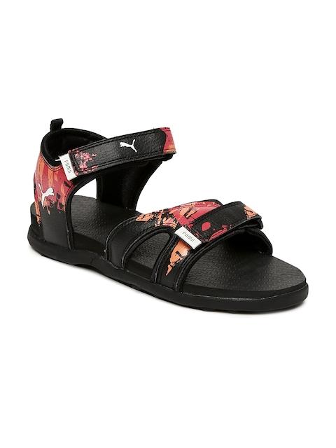 Puma Kids Black & Red TechnoCat Sports Sandals