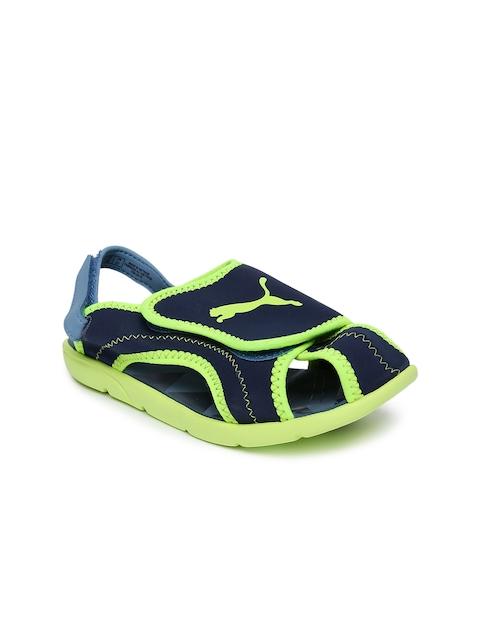 Puma Kids Blue & Fluorescent Green Summer Sports Sandals