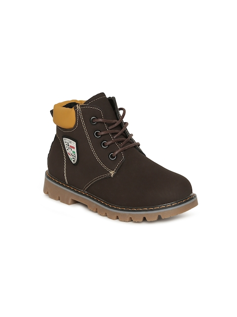 Kittens Boys Brown Solid Synthetic Leather Mid-Top Flat Boots