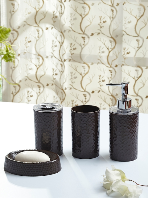 OBSESSIONS Set Of 4 Coffee Brown Solid Bath Accessories