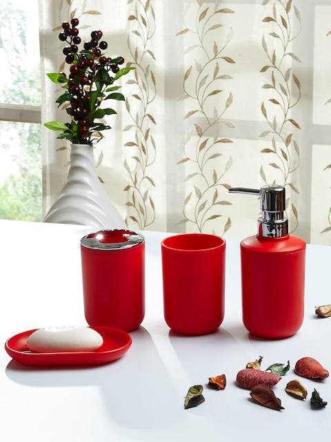 OBSESSIONS Set Of 4 Red Solid Bath Accessories