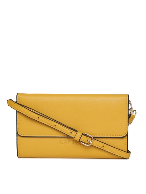 Caprese Mustard Solid Sling Bag