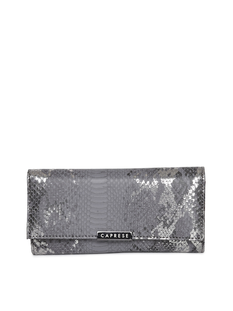 Caprese Women Grey Textured Three Fold Wallet