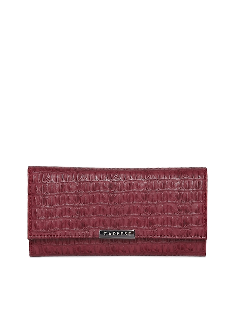 Caprese Women Maroon Textured Three Fold Wallet