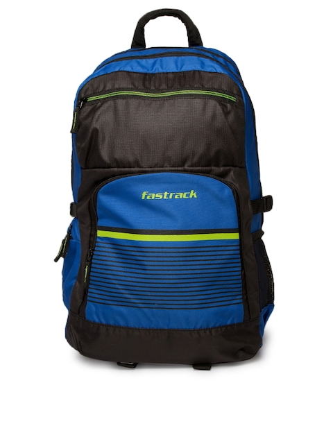 Fastrack Unisex Blue & Black Graphic Backpack