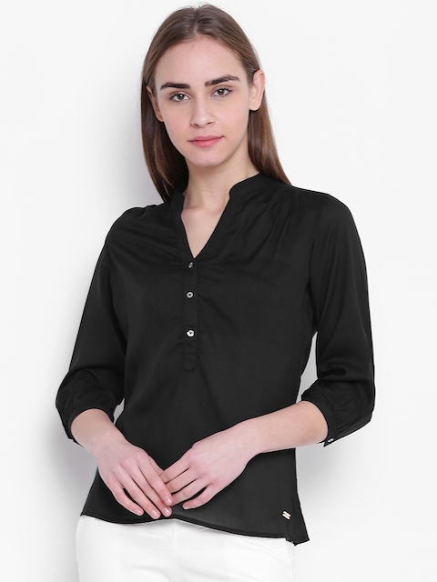 Park Avenue Woman Black Solid Shirt Style Top