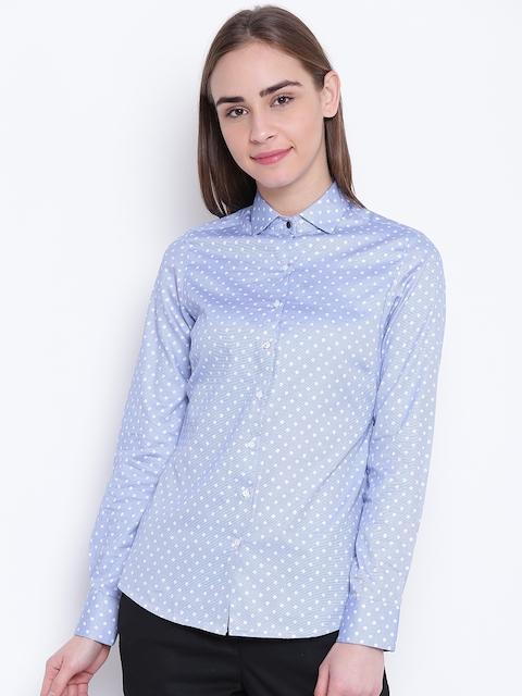 Park Avenue Woman Blue & White Floral Print Formal Shirt