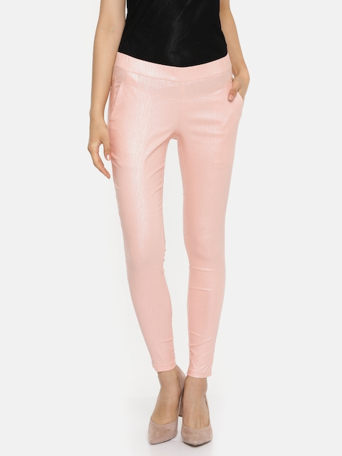 Park Avenue Woman Pink Skinny Fit Solid Regular Trousers