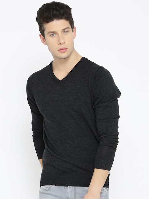 Allen Solly Men Charcoal Grey Solid Sweater