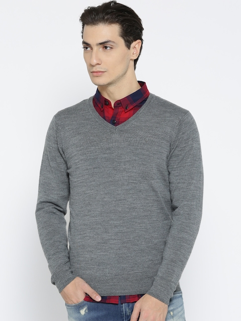 Allen Solly Men Grey Melange Solid Woollen Sweater