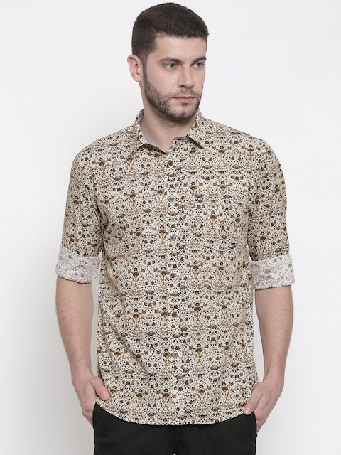Allen Solly Men Beige Sport Fit Printed Casual Shirt