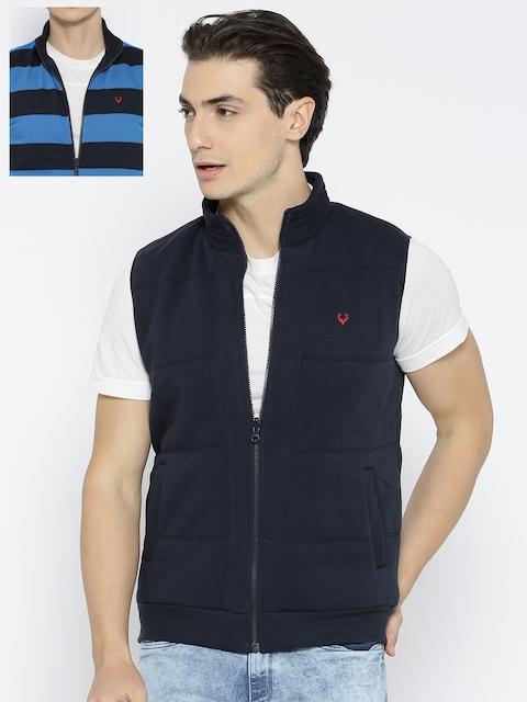 Allen Solly Men Blue Striped Reversible Sweatshirt