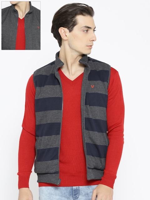 Allen Solly Men Grey Melange & Navy Blue Striped Reversible Sweatshirt