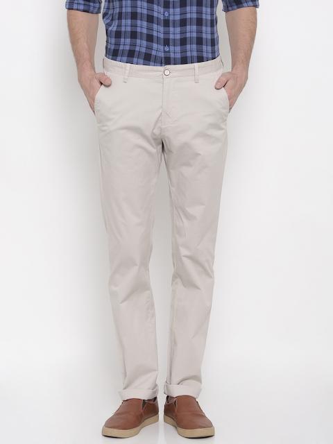 Allen Solly Men Beige Custom Regular Fit Solid Chinos