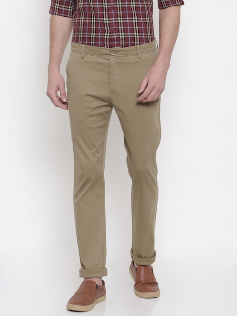 Allen Solly Men Beige Custom Regular Fit Solid Regular Trousers