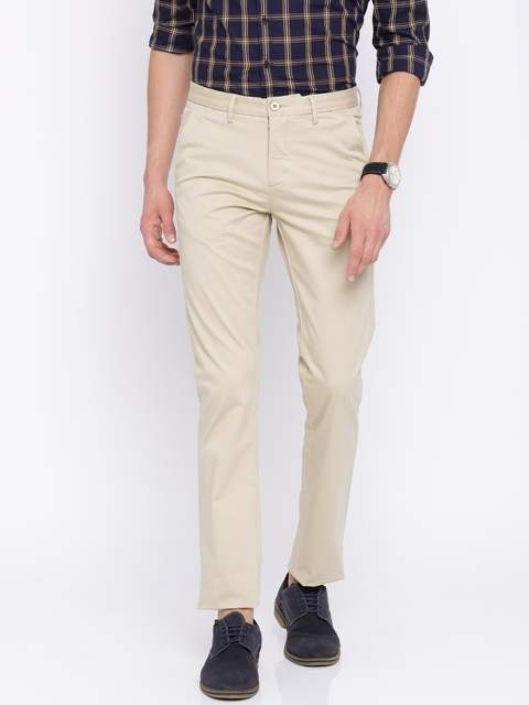 Allen Solly Men Beige Custom Comfort Fit Solid Regular Trousers