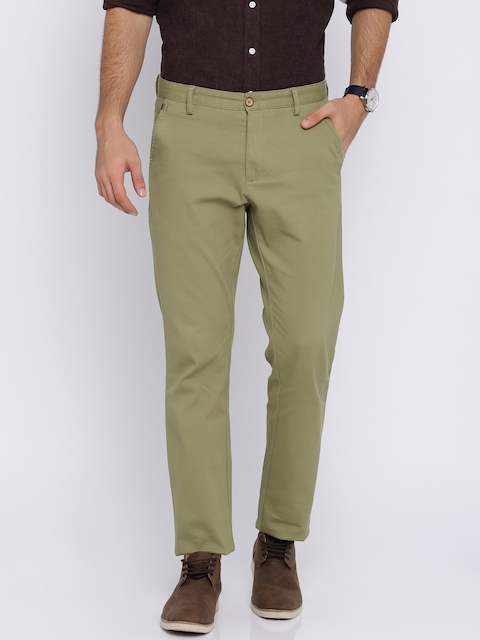 Allen Solly Men Beige Custom Regular Fit Self Design Regular Trousers