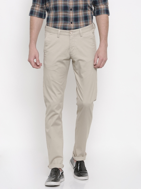 Allen Solly Men Beige Smart Slim Fit Solid Chinos