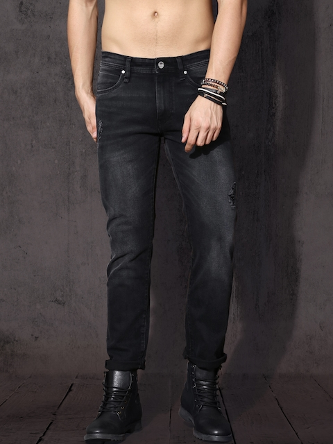 Roadster Men Black Slim Fit Mid-Rise Mildly Distressed Stretchable Jeans