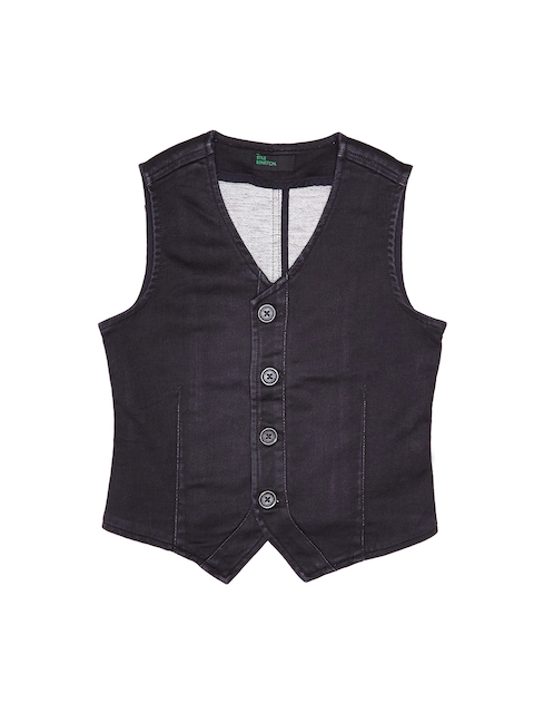 United Colors of Benetton Boys Charcoal Denim Waistcoat