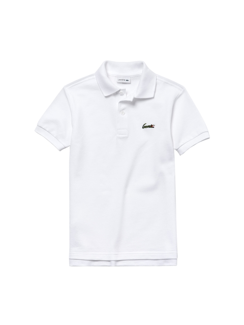 Lacoste Boys White Solid Polo Collar T-shirt