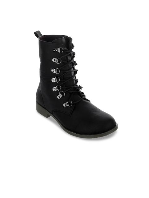 SHUZ TOUCH Women Black Flat Boots