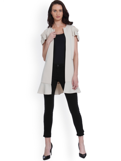 Vero Moda Women Beige Solid Tailored Jacket