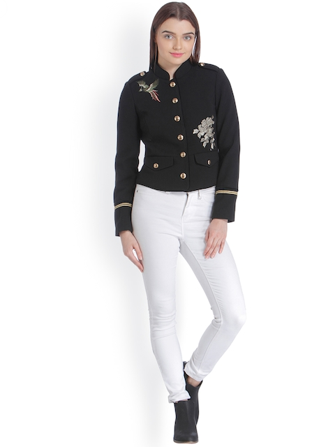Vero Moda Women Black Self Design Tailored Jacket