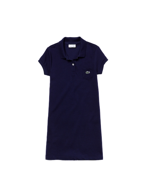 Lacoste Girls Navy Blue Solid Shirt Dress
