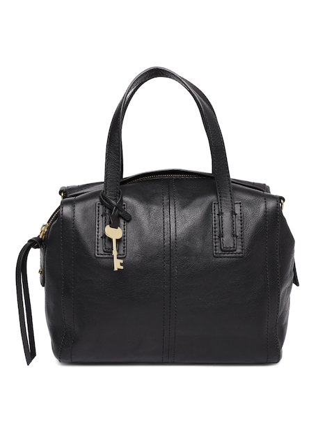 Fossil Black Leather Solid Handheld Bag