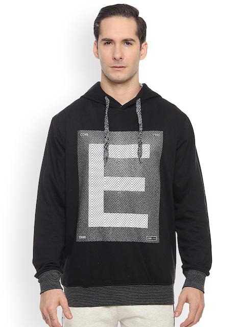 Duke Men Black Printed Hooded Sweatshirt