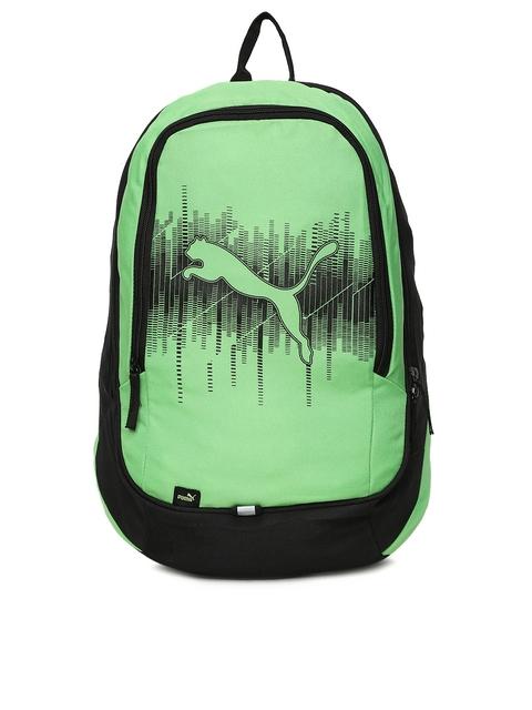 Puma Unisex Green Brand Logo Form Backpack