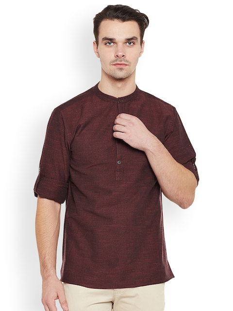 Prayyan Men Maroon Woven Design Straight Handloom Short Kurta  available at myntra for Rs.844