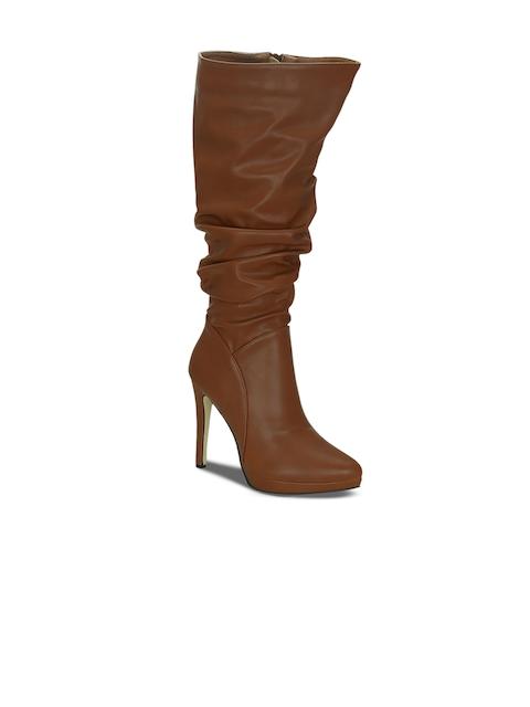 Kielz Women Tan Brown Solid Heeled Boots