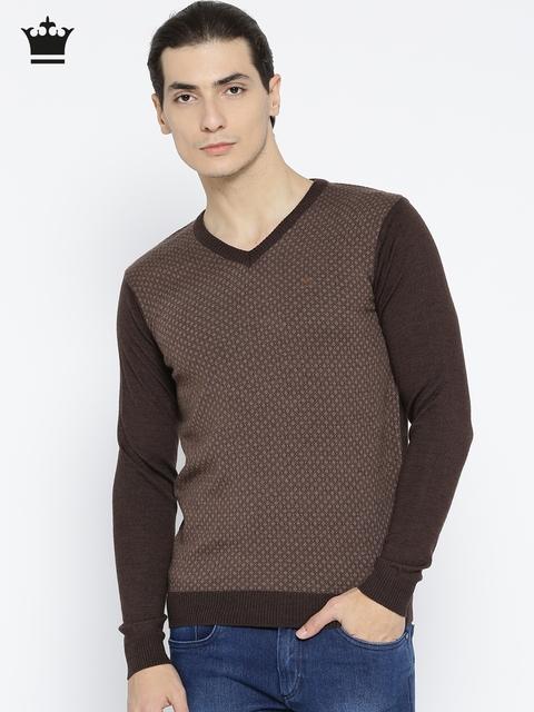 Louis Philippe Men Brown Self-Design Sweater