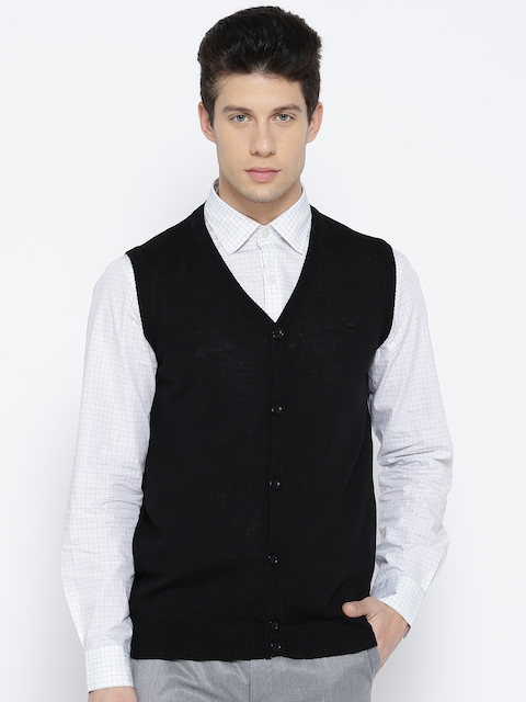 Louis Philippe Men Black Solid Sleeveless Cardigan