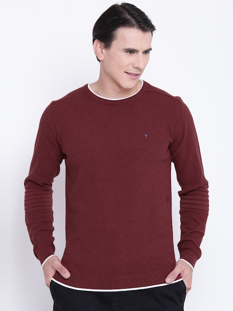 Louis Philippe Sport Men Rust Red Solid Sweater