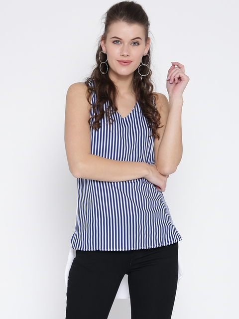 Noi Women Navy Blue & White Striped High-Low Top