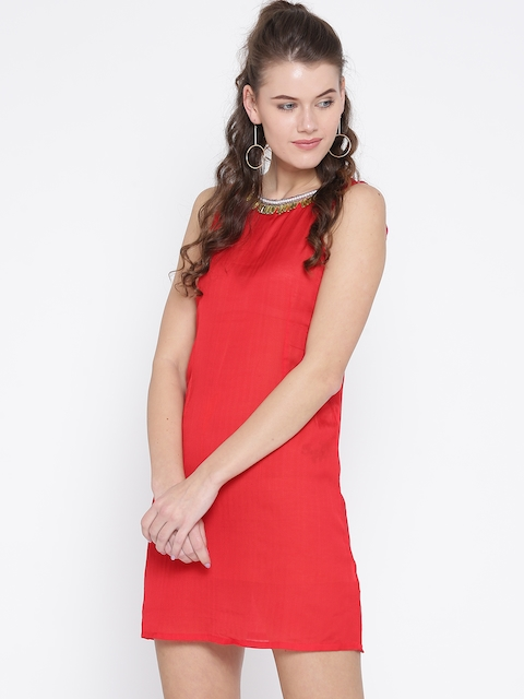 Noi Women Red Embellished Neck A-Line Dress  available at myntra for Rs.499