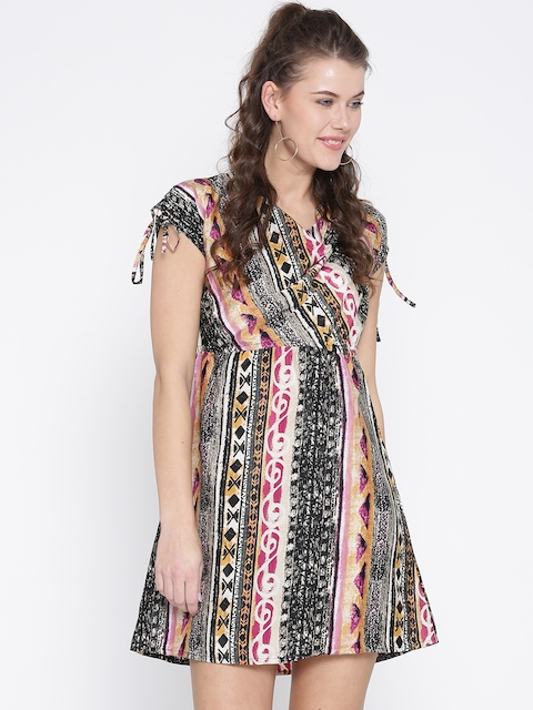 Noi Women Black & Beige Printed A-Line Dress  available at myntra for Rs.499