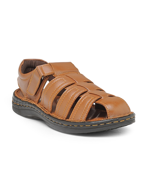 Teakwood Leathers Men Tan Shoe-Style Sandals
