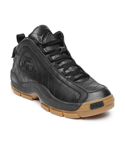 FILA Men Black Mid-Top 96 Quilted Basketball Shoes
