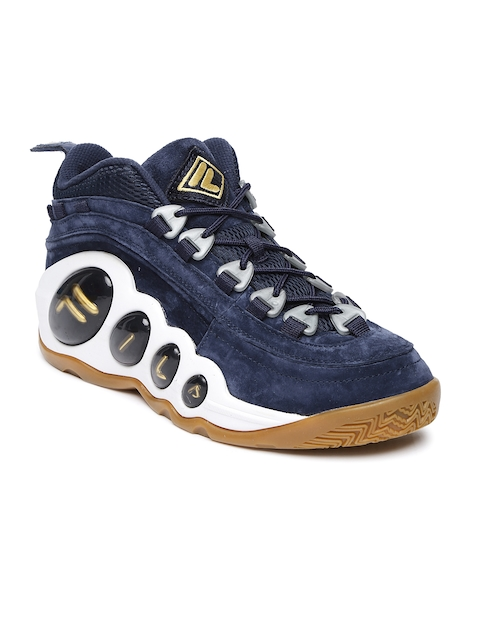 FILA Men Navy Blue Mid-Top Bubbles Basketball Shoes