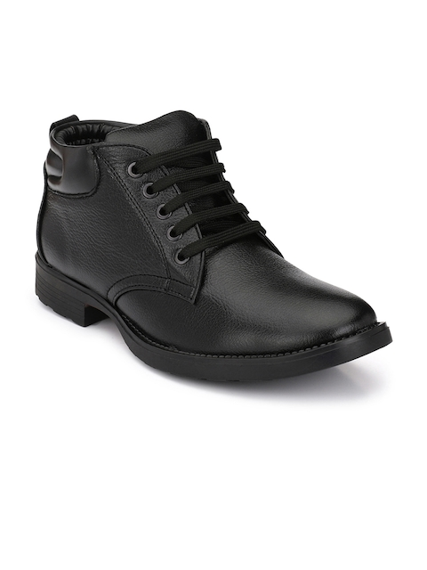 Mactree Men Black Solid High-Top Flat Boots