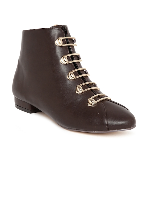Flat n Heels Women Brown Solid Synthetic High-Top Flat Boots