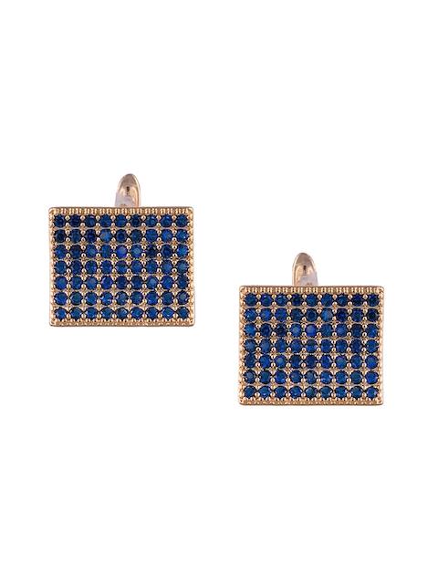 Sia Art Jewellery Gold-Toned & Blue Square Studs